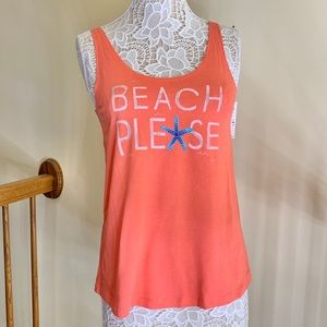 HUE Women's Beach Please Sleep Tank orange size S